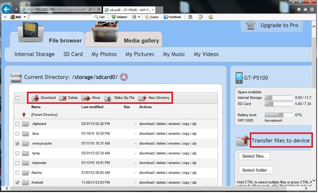 network browser app how to delete files