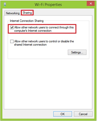 Internet sharing in Windows 8.1