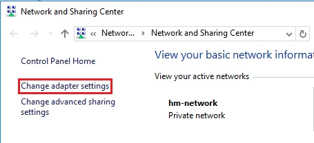 Windows 10 change network adapter settings