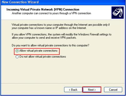 Allow Virtual Private VPN Connections