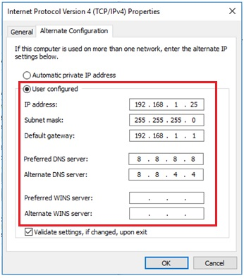 alternate ip address in Windows 10