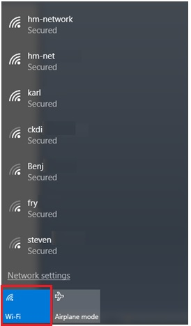 Available wifi network