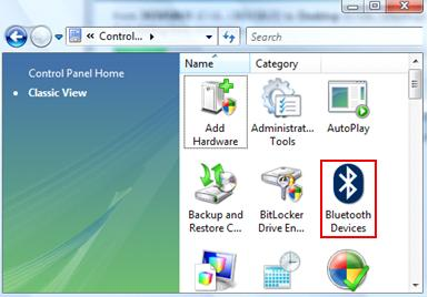 bluetooth devices in control panel