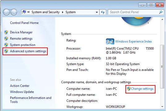 Microsoft Windows - change computer name and workgroup