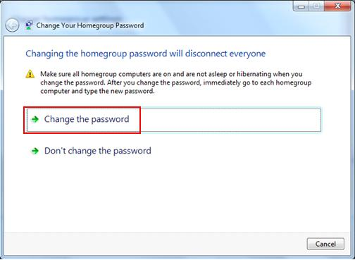 change homegroup password in Windows 7