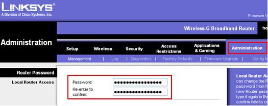 change or reset linksys router password, default router password