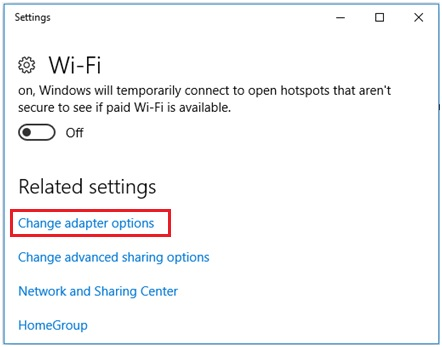 change network adapter options in Windows 10