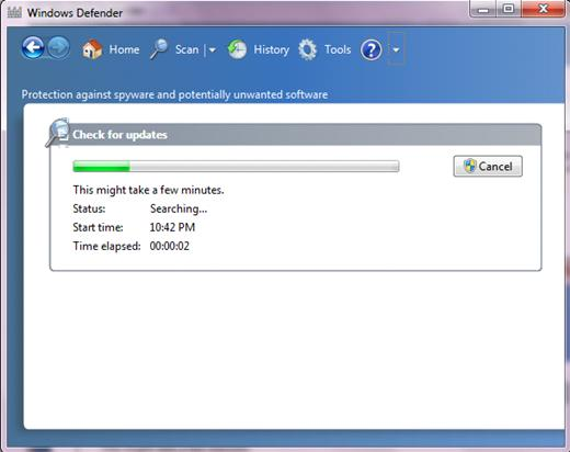 check for antispyware definition updates