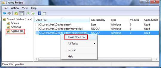 check open files in shared-folder snap-in