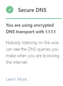 Cloudflare secure DNS checking