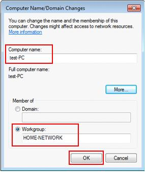 computer name and workgroup changes