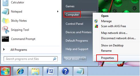 computer properties in Windows 7