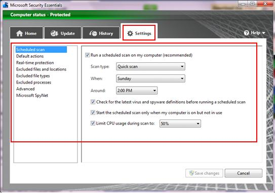 configure settings of antivirus program