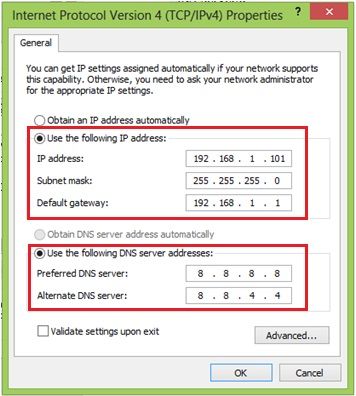 configure Windows 8 IP address
