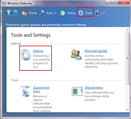 configure Windows Defender antispyware