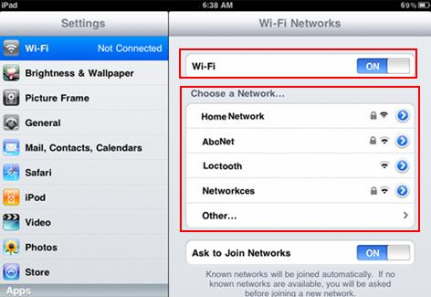 connect iPad to wireless network