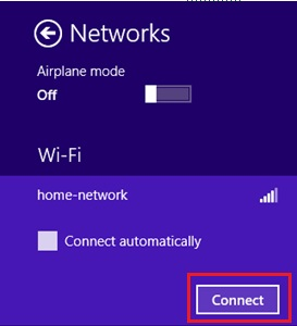 connect to wifi network in Windows 8