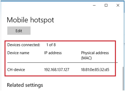 Using Mobile Hotspot to Share Internet Connection in Windows 10