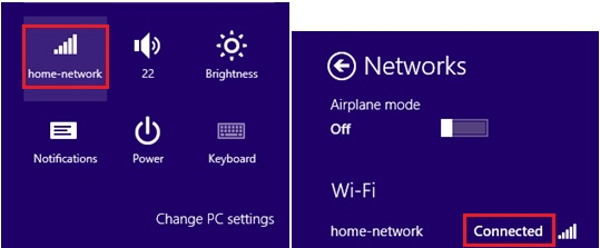 connected wifi or wireless network
