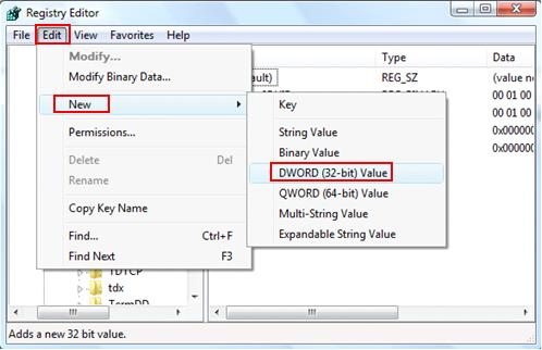 create DWORD in Vista registry