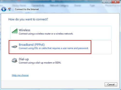 create PPPoE dialer (DSL or Cable) in Windows Vista