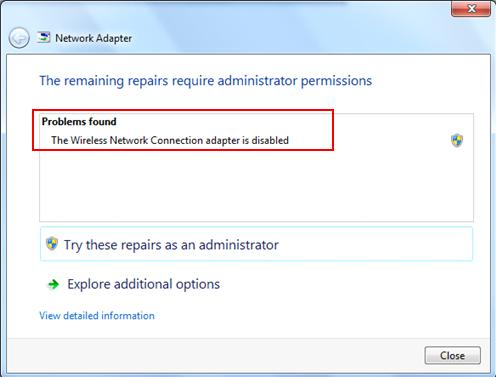 Network Troubleshooting in Windows 7