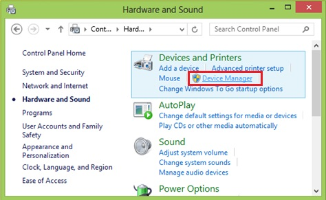 Windows 8 device manager to check driver status
