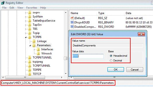 disable IPv6 in registry in Windows 7