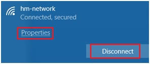 Disconnect wireless network in Windows10