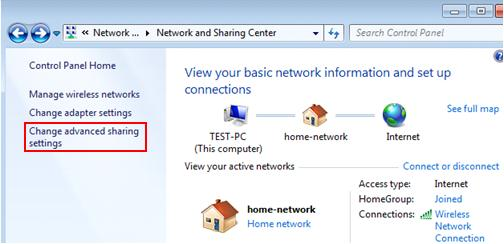 Windows 7 - enable file sharing setting