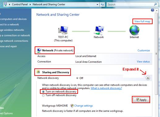 Enable Vista Network Discovery