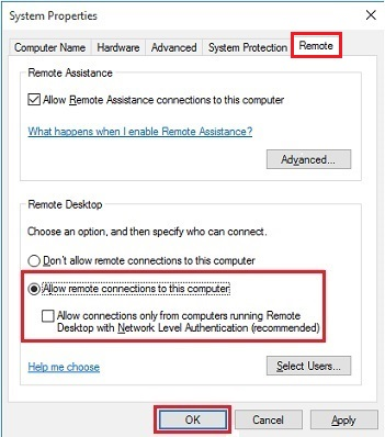 enable remote desktop feature