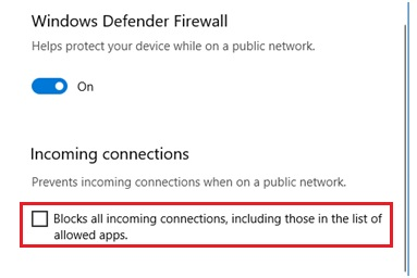 firewall no blocking