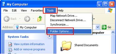 folder options in XP Pro