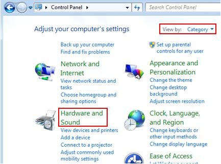hardware and sound in Windows 7