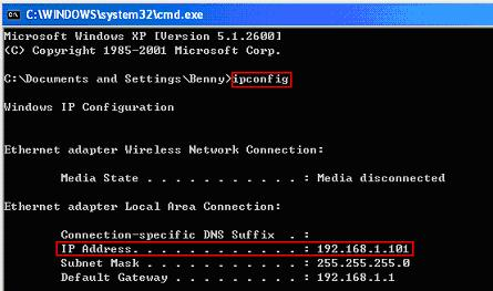 ipconfig command to check IP address, subnet mask and default gateway
