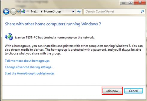 join homegroup in Windows 7