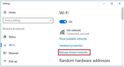 manage known networks in Windows 10