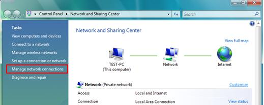 manage network connections in Windows Vista