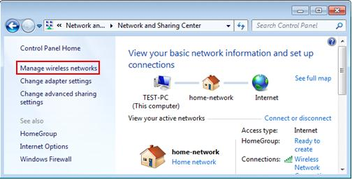 manage wireless networks in Windows 7