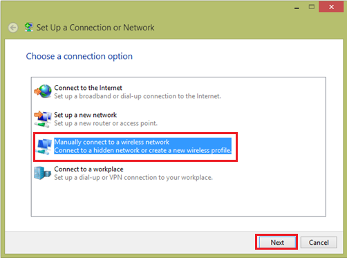 manual connect to wifi network