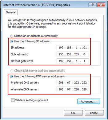 manual IP configuration Windows 7