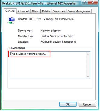 Network Adapter Driver Status