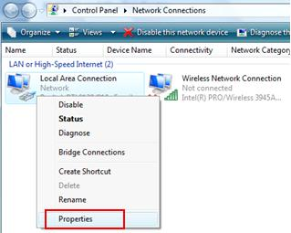 network card properties in Windows Vista
