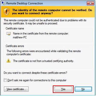 remote desktop network level authentication certificate