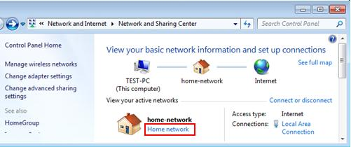 Windows 7 - network location type for network adapter