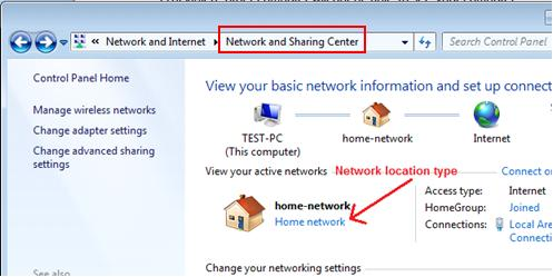 network location type in Windows 7