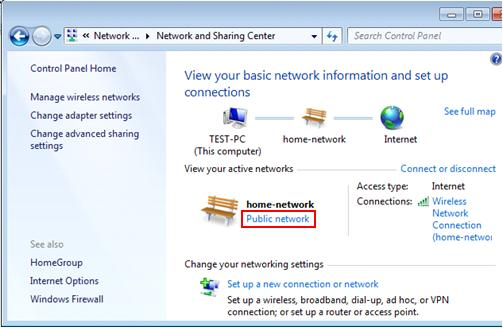 how to change network connection from public to private windows 7