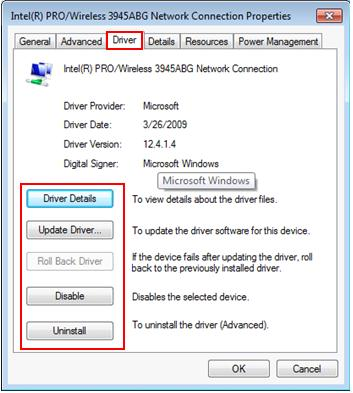 network or wireless adapter driver problem