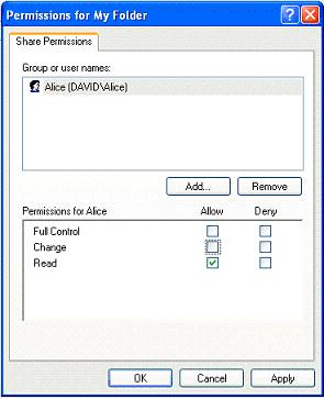 Set network share permissions in XP